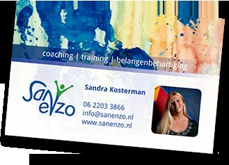 Sanenzo visitekaartje van Sandra Kosterman